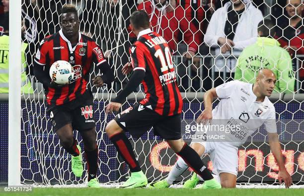 Nice's Italian forward Mario Balotelli reacts after scoring a goal during the French L1 football match Nice vs Caen on March 10 2017 at the Allianz...