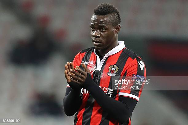 Nice's Italian forward Mario Balotelli reacts during the Europa League match between OGC Nice vs FC Krasnodar on December 8 2016 at the Allianz...