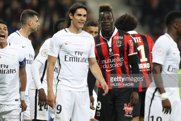 Nice's Italian forward Mario Balotelli reacts during the French L1 football match Nice vs Paris Saint Germain on April 30 2017 at the 'Allianz...