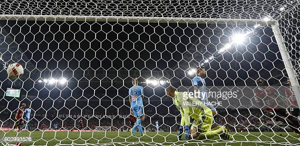 Nice's Italian forward Mario Balotelli scores a goal during the French L1 football match OGC Nice vs Olympique de Marseille on September 11 2016 at...