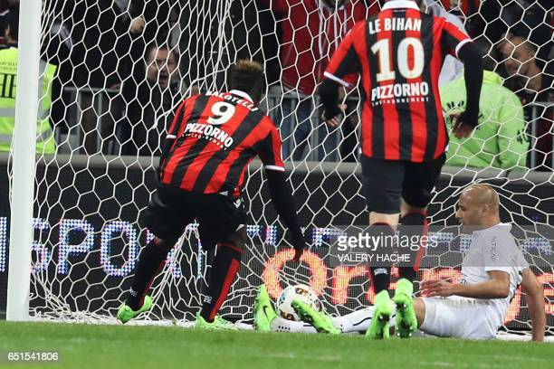 Nice's Italian forward Mario Balotelli scores a goal during the French L1 football match Nice vs Caen on March 10 2017 at the Allianz Riviera stadium...