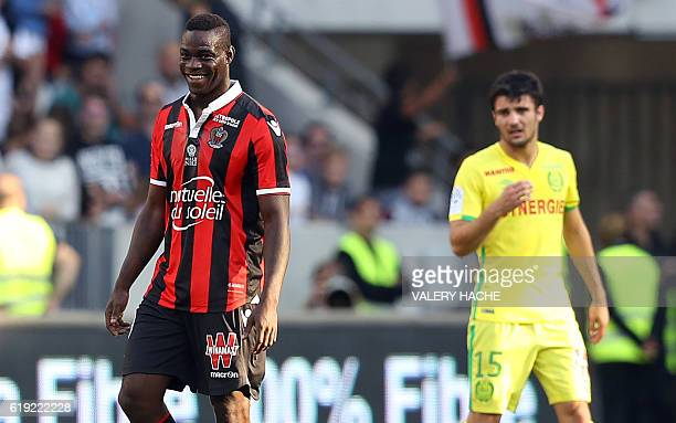 Nice's Italian forward Mario Balotelli smiles after scoring a goal during the French L1 football match Nice vs Nantes on October 30 2016 at the...