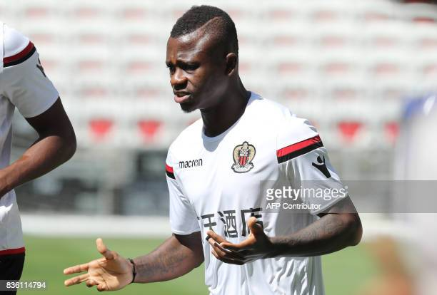 Nice's Ivorian midfielder Jean Michael Seri attends a training session on the eve of the UEFA Champions League football match between Nice and Naples...