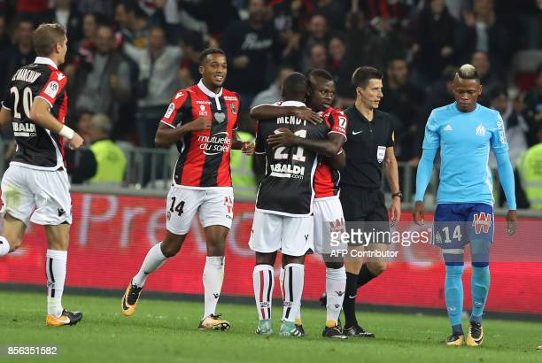 Nice's Ivorian midfielder Jean Michael Seri celebrates after scoring a goal during the French L1 football match Nice vs Marseille on October 01 2017...