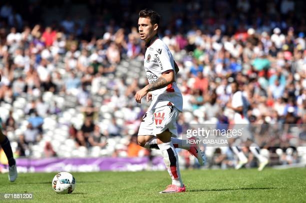 Nice's mildfielder Donis Anastasios runs with the ball during the French L1 football match Toulouse vs Nice on April 23 2017 at the Municipal Stadium...