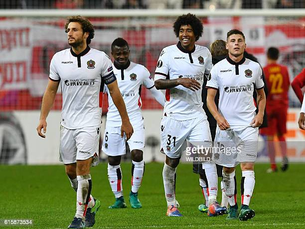 Nice's Paul Baysse Jean Michel Seri Dante and Remi Walter leave the pitch after during Europa League football match FC Salzburg v OGC Nice in...