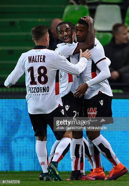 Nice's players celebrate after Alassane Plea scored a goal during the French L1 football match between Metz and Nice on October 23 2016 at Saint...