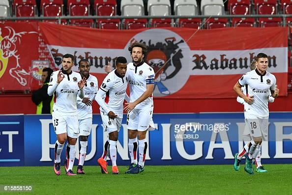 Nice's players celebrate after scoring during Europa League football match FC Salzburg v OGC Nice in Salzburg on October 20 2016 / AFP / WILDBILD