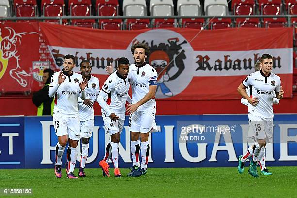 Nice's players celebrate after scoring during Europa League football match FC Salzburg v OGC Nice in Salzburg on October 20 2016 / AFP / WILDBILD