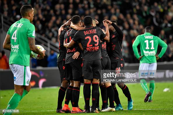 Nice's players celebrates after scoring a goal during the French L1 football match between SaintEtienne and Nice at the GeoffroyGuichard stadium in...
