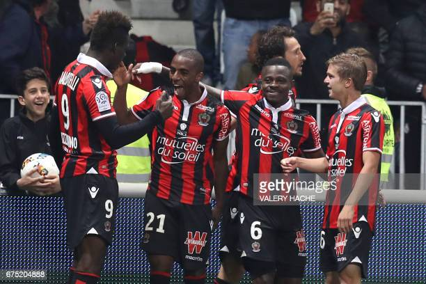 Nice's Portuguese defender Ricardo Pereira celebrates after scoring a goal during the French L1 football match Nice vs Paris Saint Germain on April...