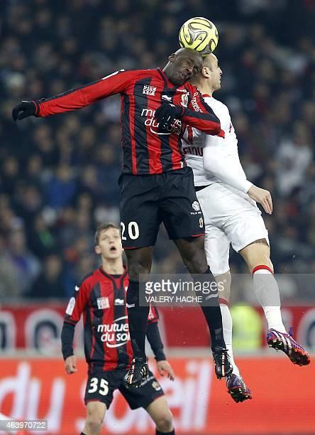 Nice's Senegalese midfielder Souleymane Diawara vies with Monaco's Bulgarian forward Dimitar Berbatov during the French L1 football match Nice vs...