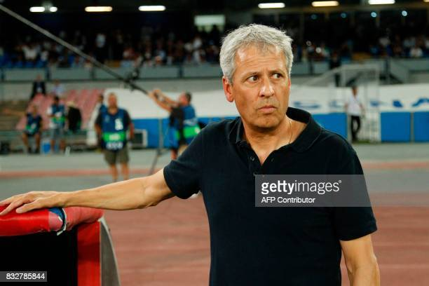 OGC Nice's Swiss coach Lucien Favre looks on before the UEFA Champions League Play Off first leg football match SSC Napoli vs OCG Nice on August 16...