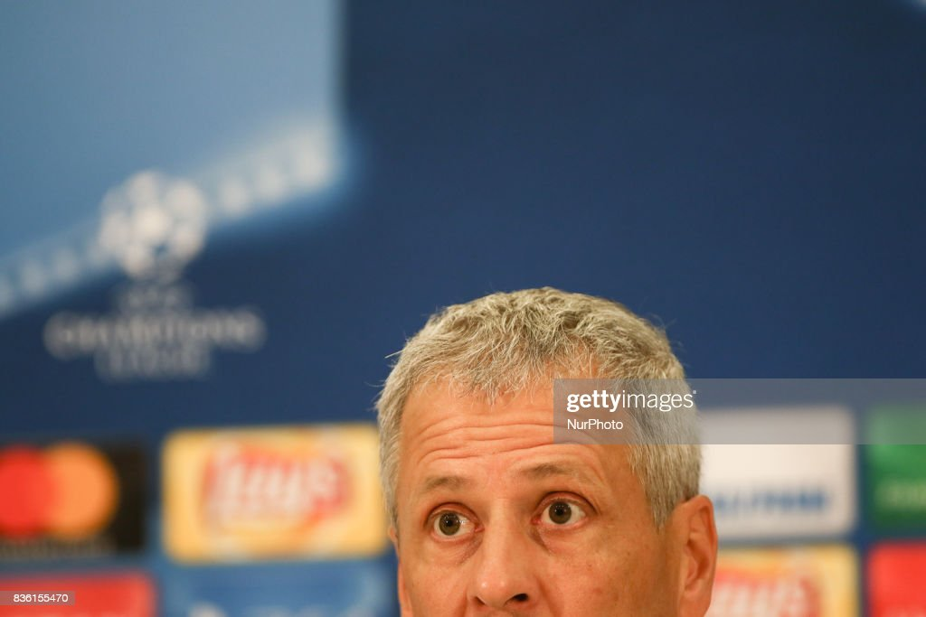 Nice's Swiss head coach Lucien Favre speaks during a press conference at The Allianz Riviera Stadium in Nice, south-eastern France on August 21, 2017, on the eve of the UEFA Champions League football match between Nice and Naples.