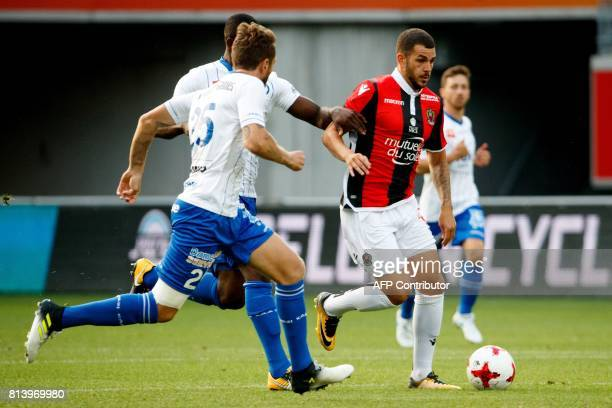 Nice's Valentin Eysseric vies for the ball during a friendly football match between Belgian first league soccer team KAA Gent and French Ligue 1 team...