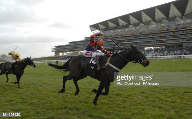 Niche Market and Harry Skelton win The BGC Silver Cup Handicap Steeple Chase at Ascot Racecourse Berkshire