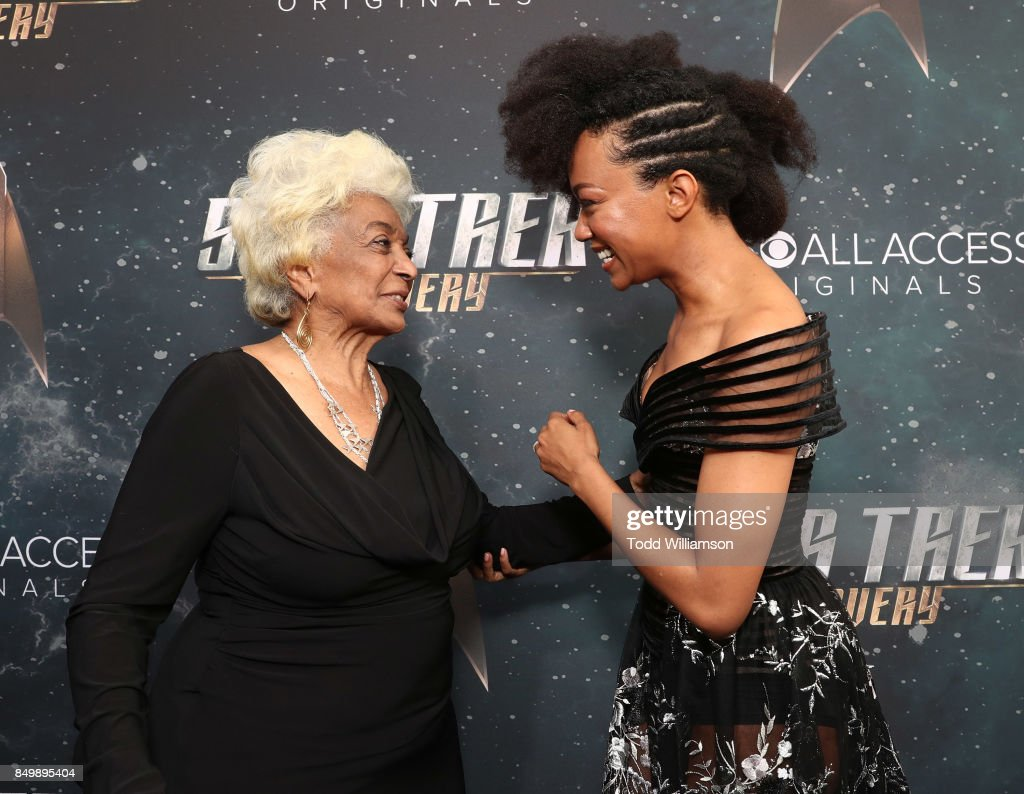 Nichelle Nichols and Sonequa Martin attend the premiere of CBS's 'Star Trek: Discovery' at The Cinerama Dome on September 19, 2017 in Los Angeles, California.