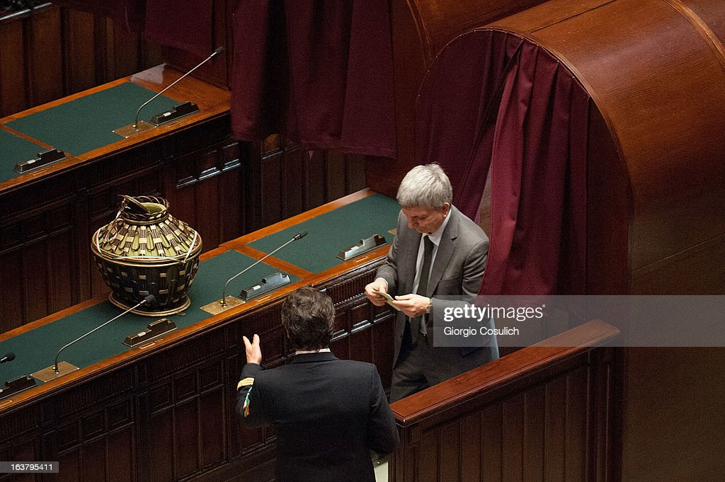 Nichi Vendola, leader of SEL civic list, gets ready to place his ballot during the second meeting at the Chambers of Deputy on March 16, 2013 in Rome, Italy. The new Italian parliament, which opens the 17th Legislature, has the task of electing the President of the House of Parliament and of the Senate, before giving way to a new government.