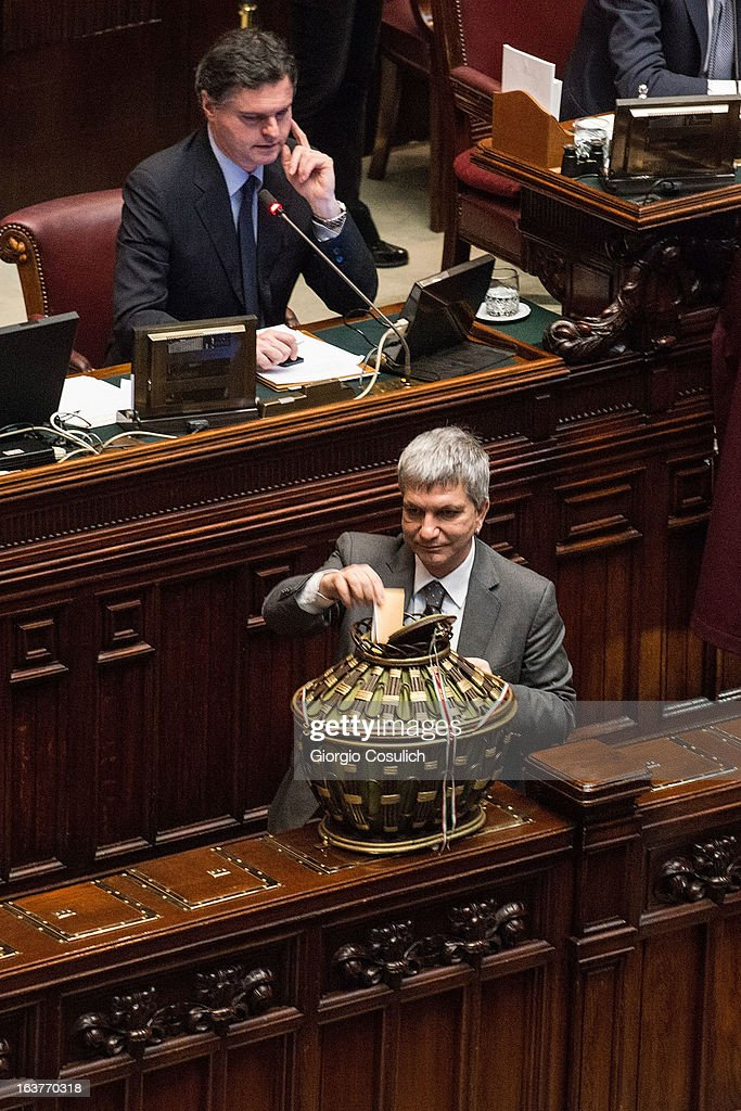 Nichi Vendola, leader of SEL, places the ballot during the first meeting of the new Italian parliament on March 15, 2013 in Rome, Italy. The new Italian parliament, which opens the 17th Legislature, has the task of electing the President of the House of Parliament and of the Senate, before giving way to a new government. Pier Luigi Bersani, leader of the Democratic Party, asked his senators and representatives to vote blank votes with the intent to continue to work on an agreement with the Five Stars Movement (M5S) who instead said that it will vote only for its candidates for the presidency of House of Parliament and the Senate.