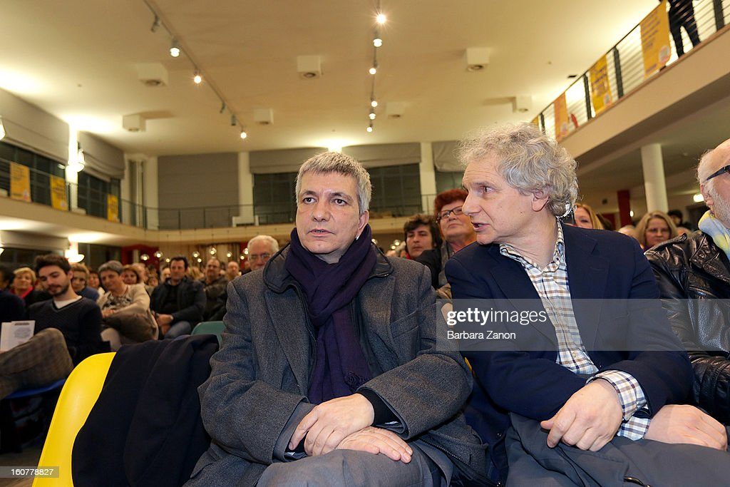 Nichi Vendola, the president of Apulia and leader of Sinistra ecologia e Liberta party (L), and Gianfranco Bettin attend the Electoral Campaign at Palaplip on February 5, 2013 in Mestre, Italy. Sinistra Ecologia e Liberta is a party in the centre-left coalition led by Pierluigi Bersani that will contest the upcoming election in February.