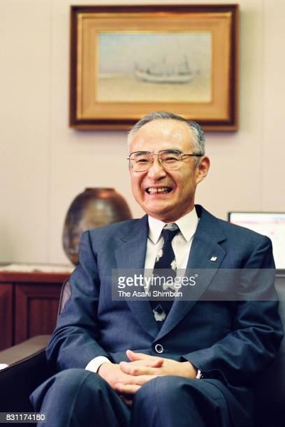 Nichirei President Tadashi Teshima speaks during the Asahi Shimbun interview on August 4 1993 in Tokyo Japan