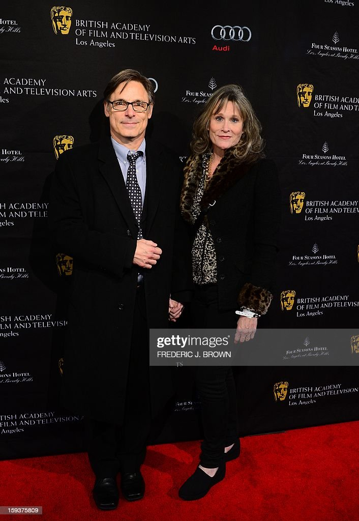 Nicholas and Pamela Guest pose on arrival for the British Academy of Film and Television Arts (BAFTA) Los Angeles Awards Season Tea Party on January 12, 2013 in Beverly Hills, California. AFP PHOTO / Frederic J. BROWN