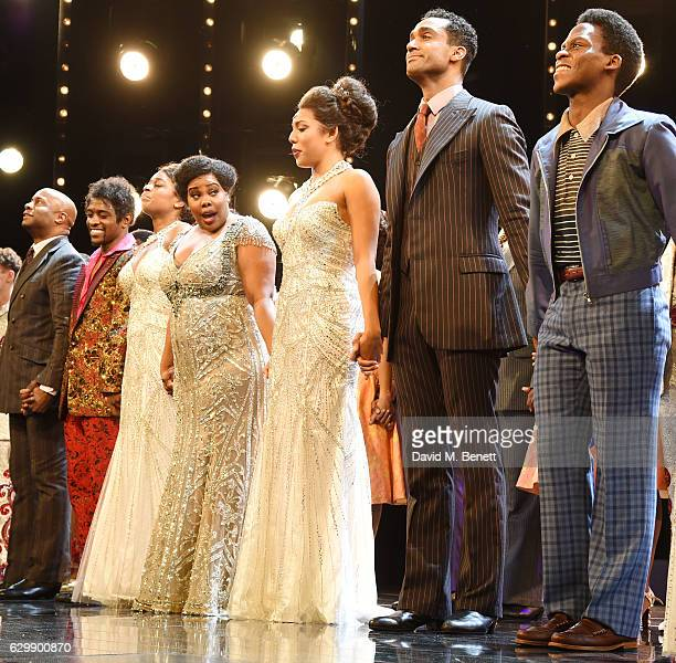 Nicholas Bailey Adam J Bernard Ibinabo Jack Amber Riley Liisi LaFontaine Joe Aaron Reid and Tyrone Huntley bow at the curtain call during the press...