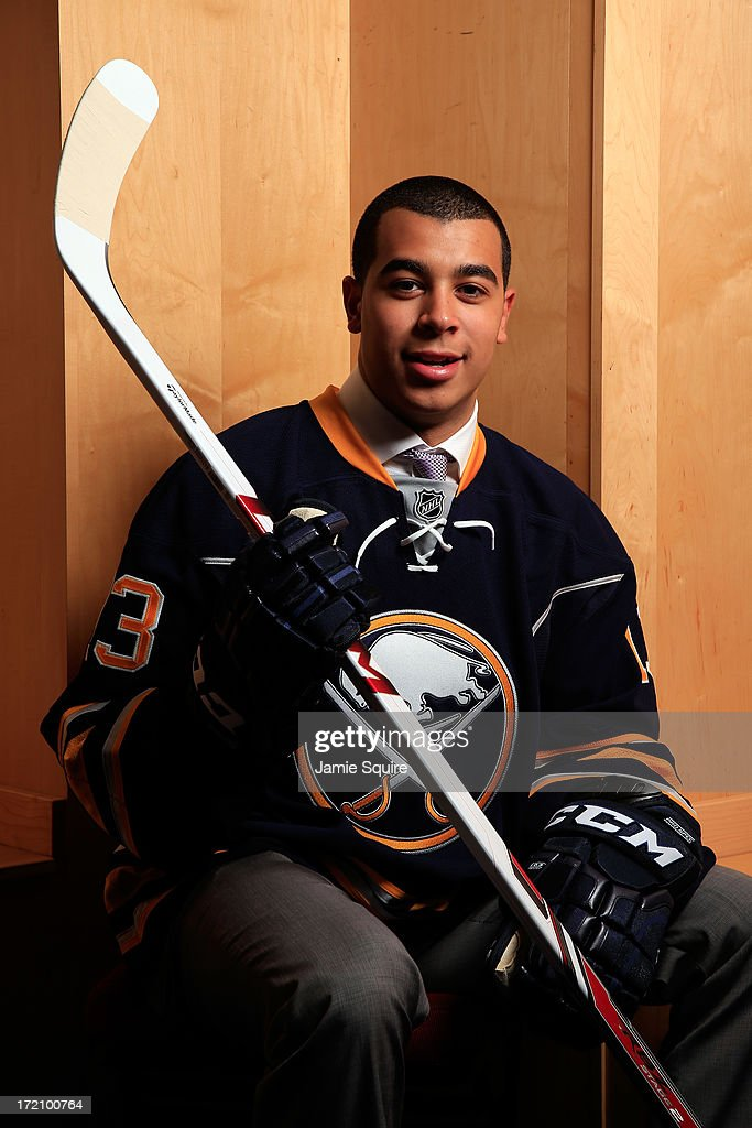 Nicholas Baptiste, 69th overall pick by the Buffalo Sabres, poses for a portrait during the 2013 NHL Draft at the Prudential Center on June 30, 2013 in Newark, New Jersey.