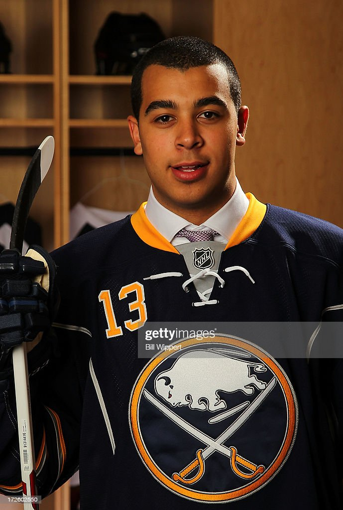 Nicholas Baptiste, 69th pick overall by the Buffalo Sabres, poses for a portrait during the 2013 NHL Draft at Prudential Center on June 30, 2013 in Newark, New Jersey.