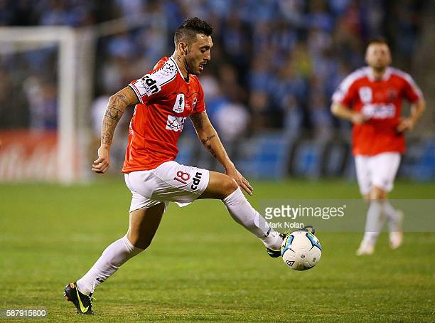 Nicholas Bernal of the Wolves controls the ball during the FFA Cup round of 32 match between the Wollongong Wolves and Sydney FC at WIN Stadium on...