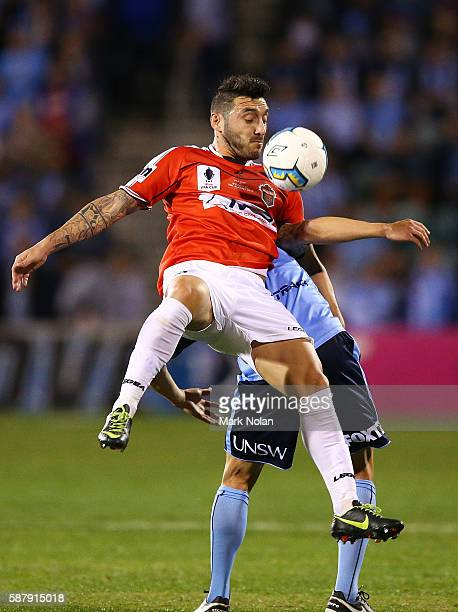 Nicholas Bernal of the Wolves in action during the FFA Cup round of 32 match between the Wollongong Wolves and Sydney FC at WIN Stadium on August 10...