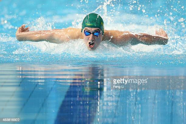 Nicholas Brown of Australia competes in the Men's 100m Butterfly Final on day three of Nanjing 2014 Summer Youth Olympic Games at Nanjing OSC...