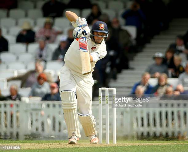 Nicholas Browne of Essex drives the ball to the boundary during the LV County Championship match between Surrey and Essex at The Kia Oval on April 27...
