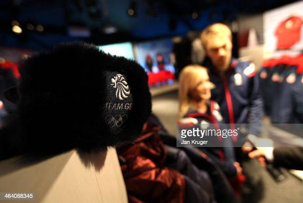 Nicholas Buckland and Penny Coomes of Great Britain gives an interview during the Team GB Kitting Out ahead of Sochi Winter Olympics on January 20...