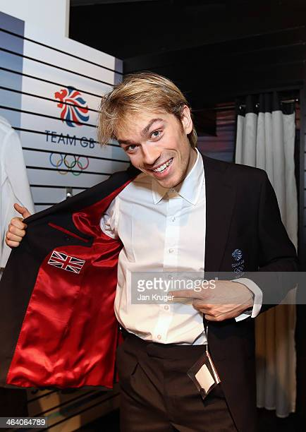 Nicholas Buckland of Great Britain tries on his formal jacket during the Team GB Kitting Out ahead of Sochi Winter Olympics on January 20 2014 in...