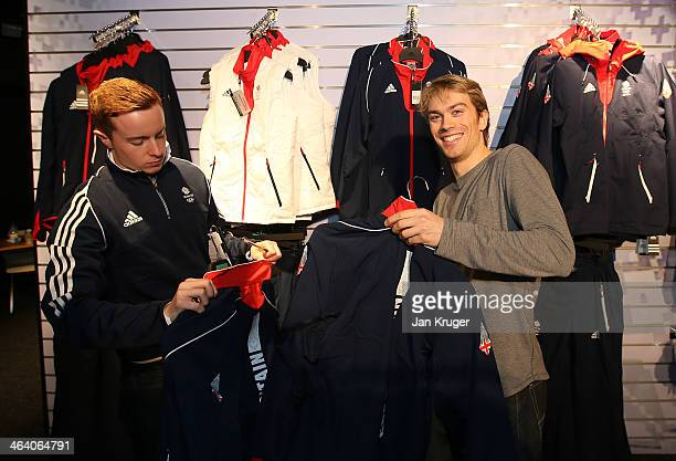Nicholas Buckland of Great Britain tries on his uniform during the Team GB Kitting Out ahead of Sochi Winter Olympics on January 20 2014 in Stockport...