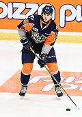 Nicholas Caamano of the Flint Firebirds takes warmup prior to a game against the Mississauga Steelheads on October 4 2015 at the Hershey Centre in...