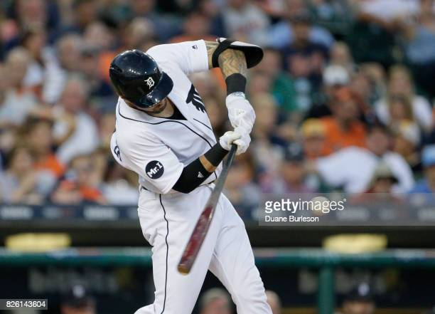 Nicholas Castellanos of the Detroit Tigers bats against the Houston Astros at Comerica Park on July 29 2017 in Detroit Michigan