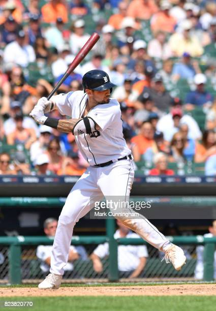 Nicholas Castellanos of the Detroit Tigers bats during the game against the San Francisco Giants at Comerica Park on July 6 2017 in Detroit Michigan...