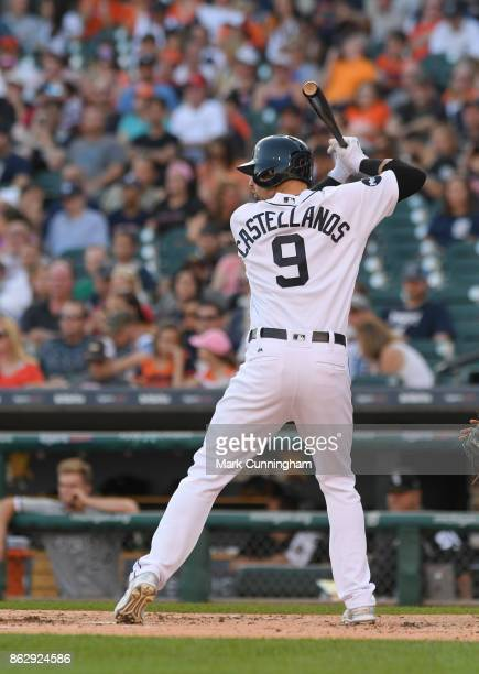 Nicholas Castellanos of the Detroit Tigers bats during the game against the Chicago White Sox at Comerica Park on September 16 2017 in Detroit...