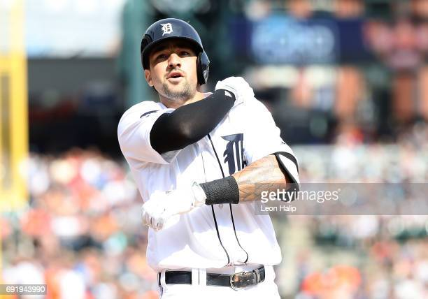 Nicholas Castellanos of the Detroit Tigers celebrates a solo home run during the second inning of the game against the Chicago White Sox on June 3...