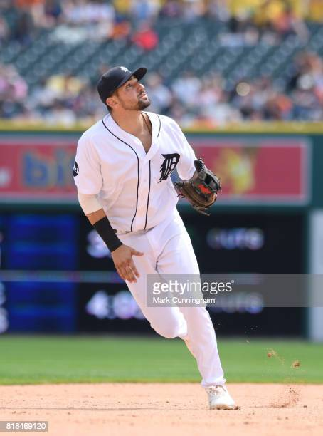 Nicholas Castellanos of the Detroit Tigers fields during the game against the Kansas City Royals at Comerica Park on June 29 2017 in Detroit Michigan...
