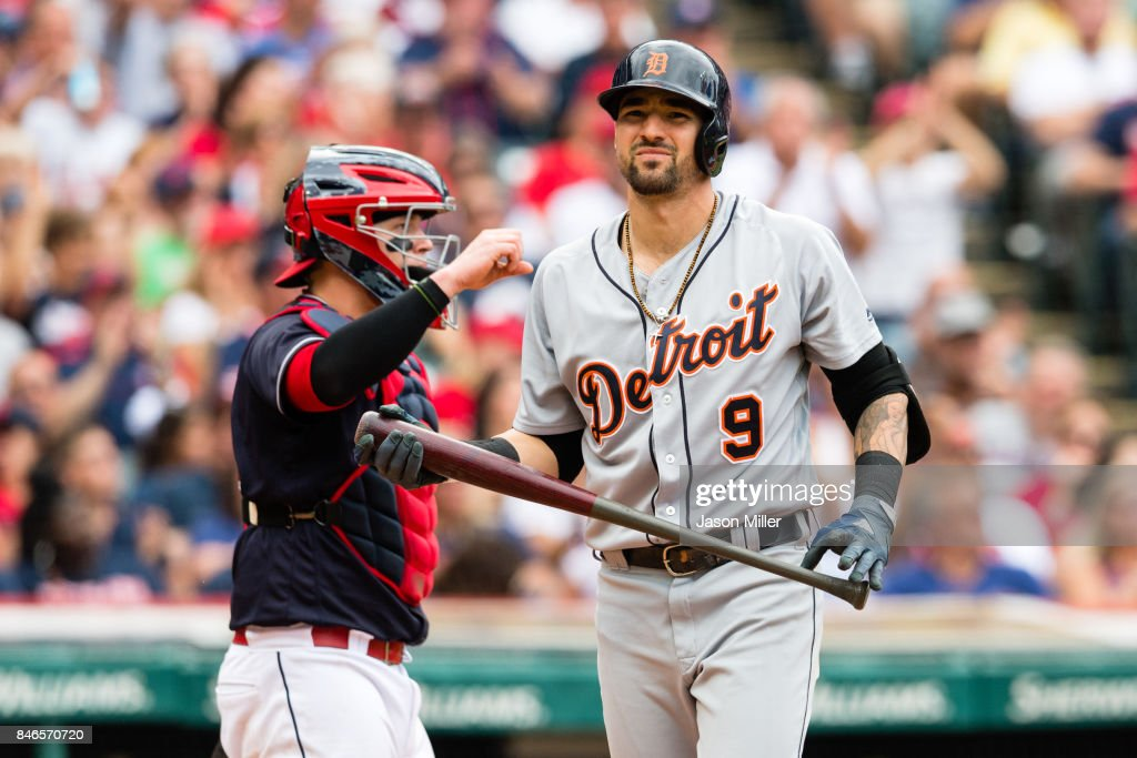 Nicholas Castellanos #9 of the Detroit Tigers reacts after striking out during the eighth inning against the Cleveland Indians at Progressive Field on September 13, 2017 in Cleveland, Ohio. The Indians defeated the Tigers to win 21 straight games.