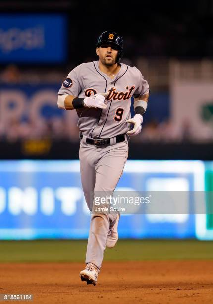 Nicholas Castellanos of the Detroit Tigers rounds the bases after hitting his second home run of the game during the 7th inning of the game against...