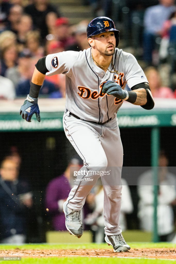 Nicholas Castellanos #9 of the Detroit Tigers runs out a during the fourth inning against the Cleveland Indians at Progressive Field on September 12, 2017 in Cleveland, Ohio.