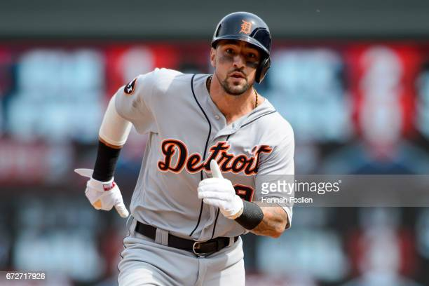 Nicholas Castellanos of the Detroit Tigers runs the bases against the Minnesota Twins during the game on April 23 2017 at Target Field in Minneapolis...