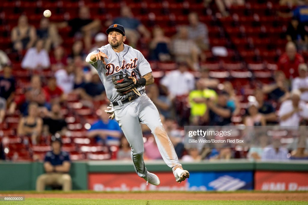 Nicholas Castellanos #9 of the Detroit Tigers throws to first base during the ninth inning of a game against the Boston Red Sox on June 11, 2017 at Fenway Park in Boston, Massachusetts.