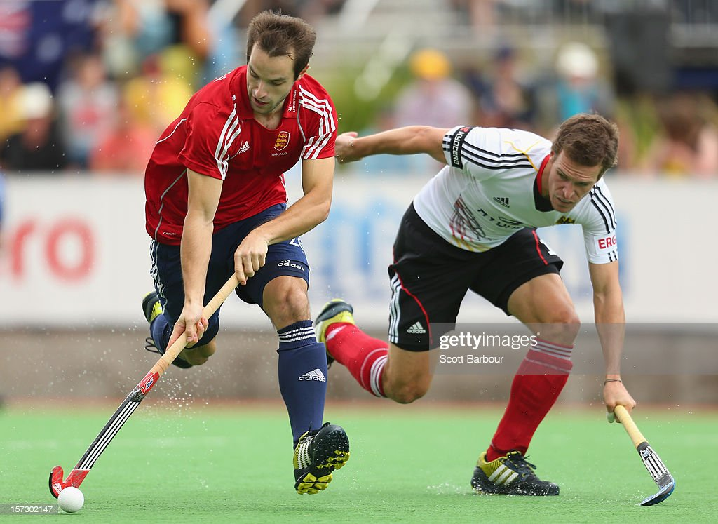 Nicholas Catlin of England controls the ball during the match between England and Germany during day two of the Champions Trophy on December 2, 2012 in Melbourne, Australia.