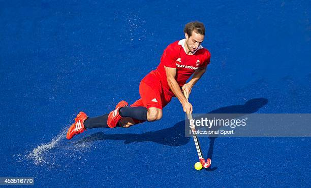 Nicholas Catlin of Great Britain in action during the Men's preliminary Hockey match between Great Britain and South Africa on Day 5 of the London...