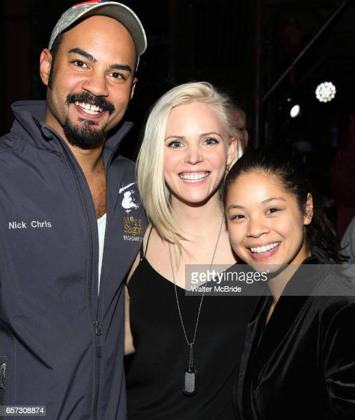 Nicholas Christopher Katie Rose Clarke and Eva Noblezada during The Opening Night Actors' Equity Gypsy Robe Ceremony honoring Catherine Ricafort for...
